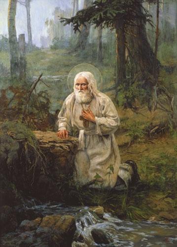 saida-afonina-st-seraphim-of-sarov-prays-on-a-rock-near-a-brook